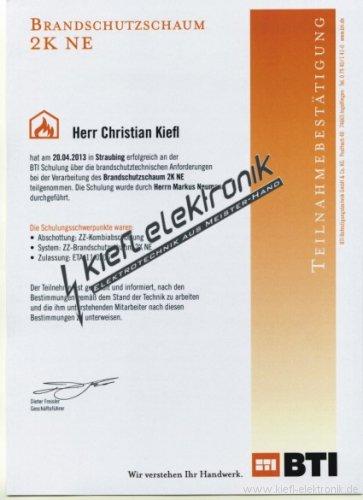 Zertifikat-Brandschutzschaum